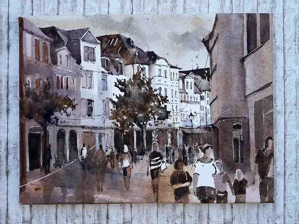 Aquarell Straßenszene auf Aqua Canvas von Marina Abramova