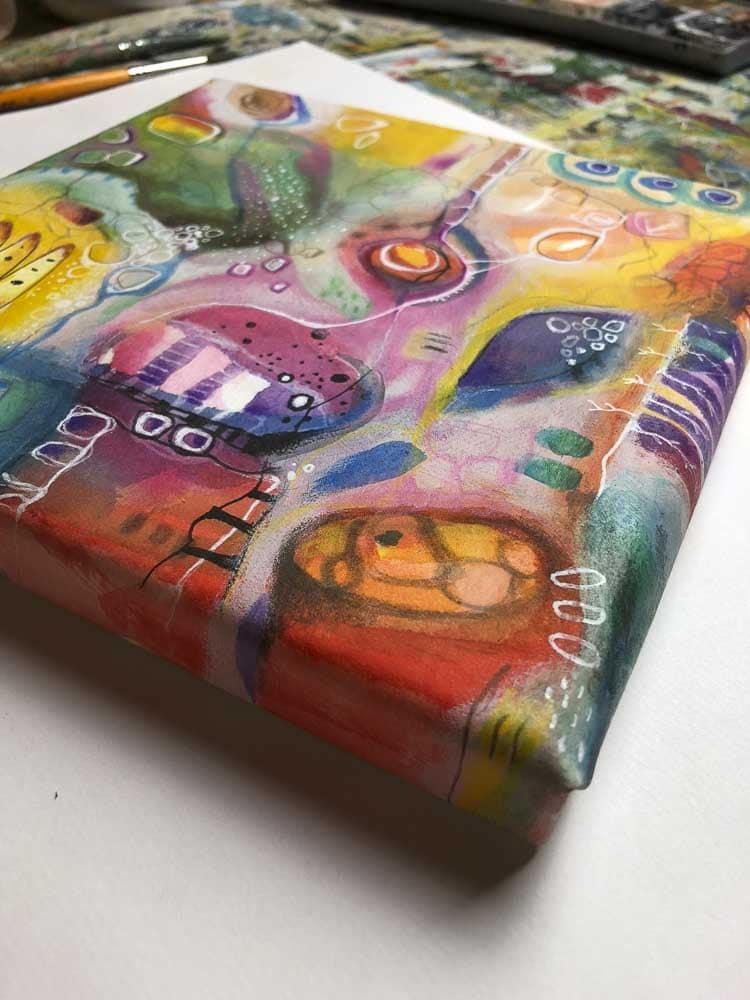 Farbenfrohe Malerei auf Aqua Canvas. Close Up.