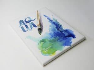 Aqua Canvas von Das Keilrahmen Werk. Aquarell von Gris.