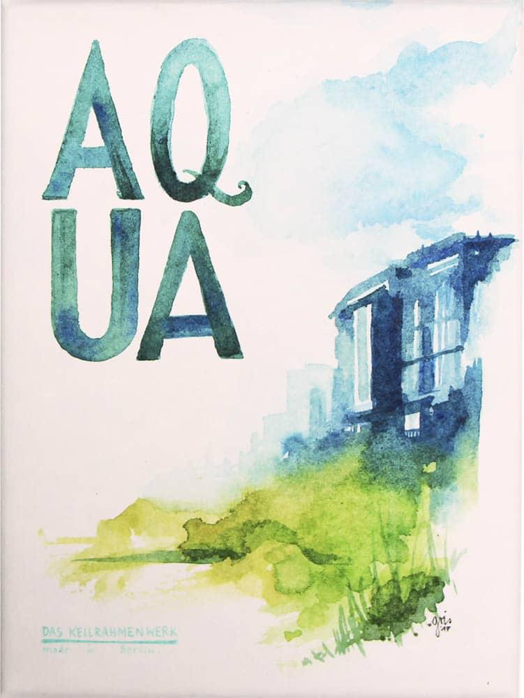 Lettering by Gris mit Aquarell auf Aqua Canvas