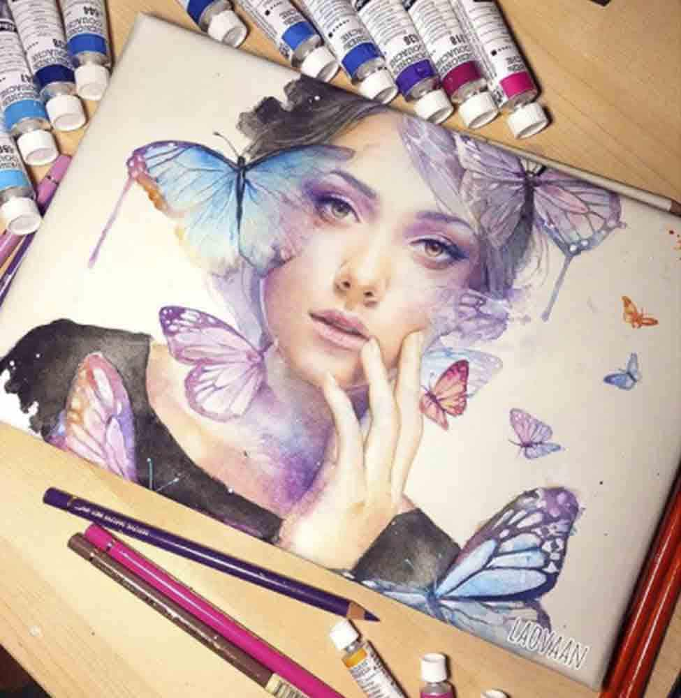 Keilrahmen mit Aquarell Bild vom Künstler Laovaan