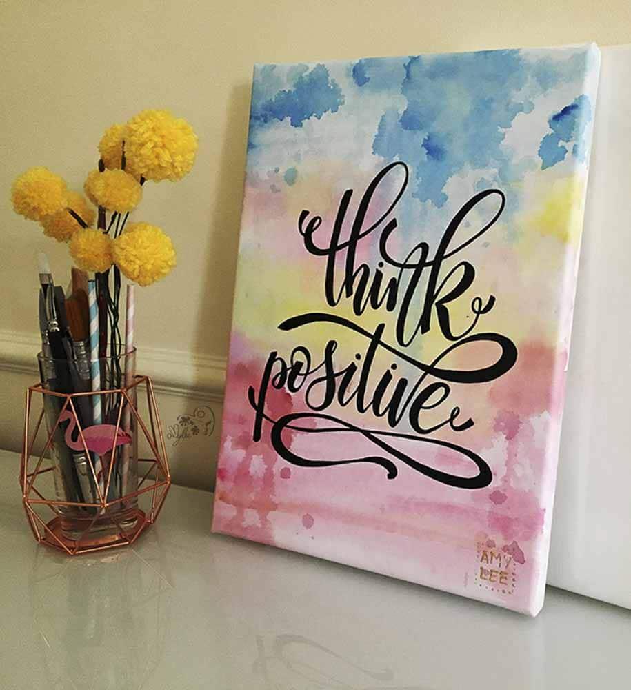 "Aqua Keilrahmen Lettering ""Think Positive"""
