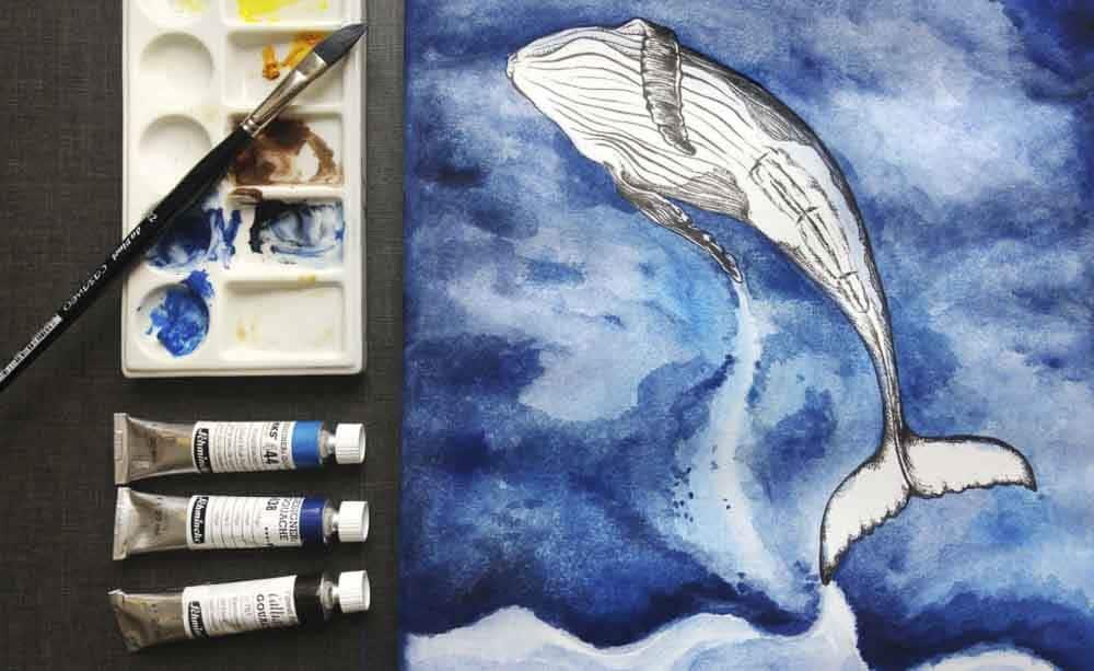 Aqua Keilrahmen mit Wal Guache in Indigo Blau von Leoni Pfeiffer