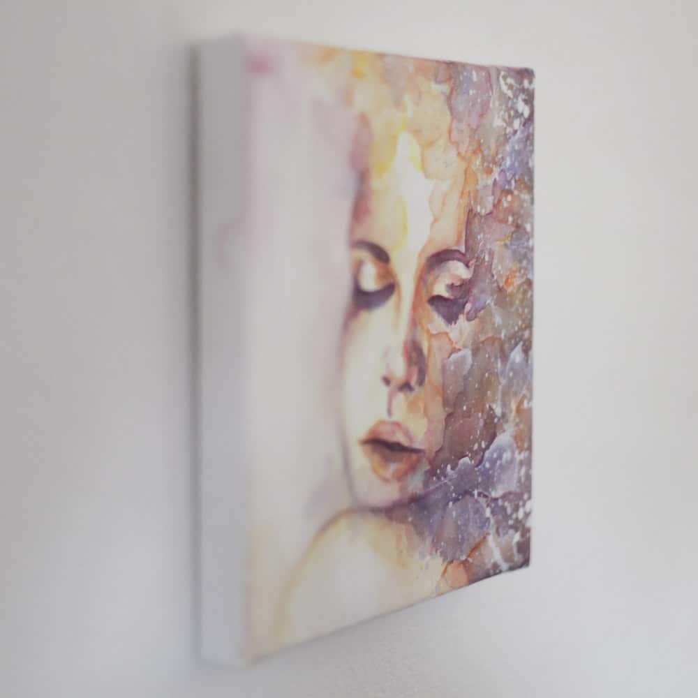 Pastell farbenes Aquarell Portrait auf Aqua Canvas, gemalt von Katharina Goette