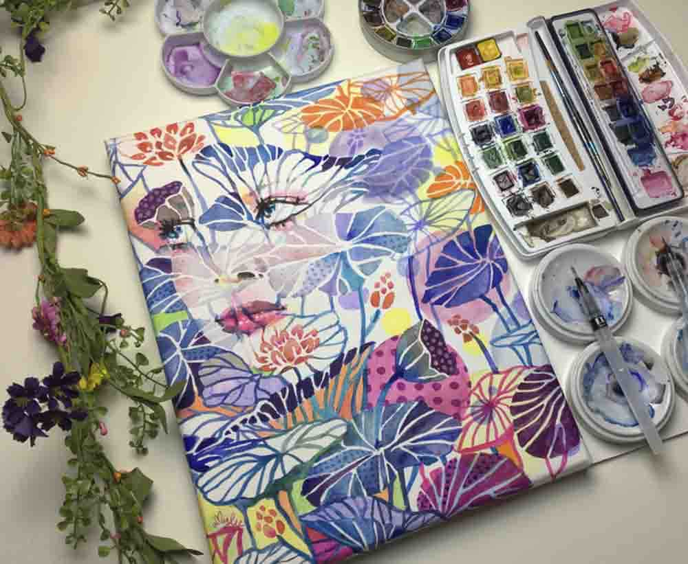 Farbenfrohe Aqua Malerei von Amy Lee Paris