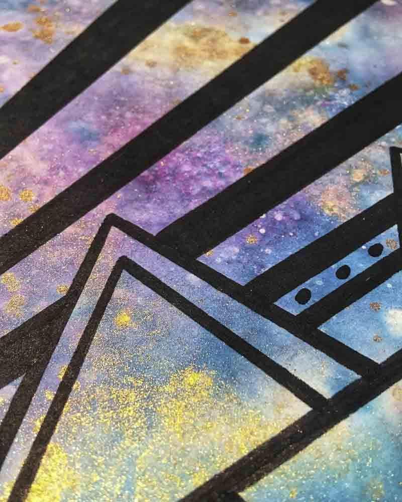 Aquarell, Glitzer und Marker auf Aqua Canvas