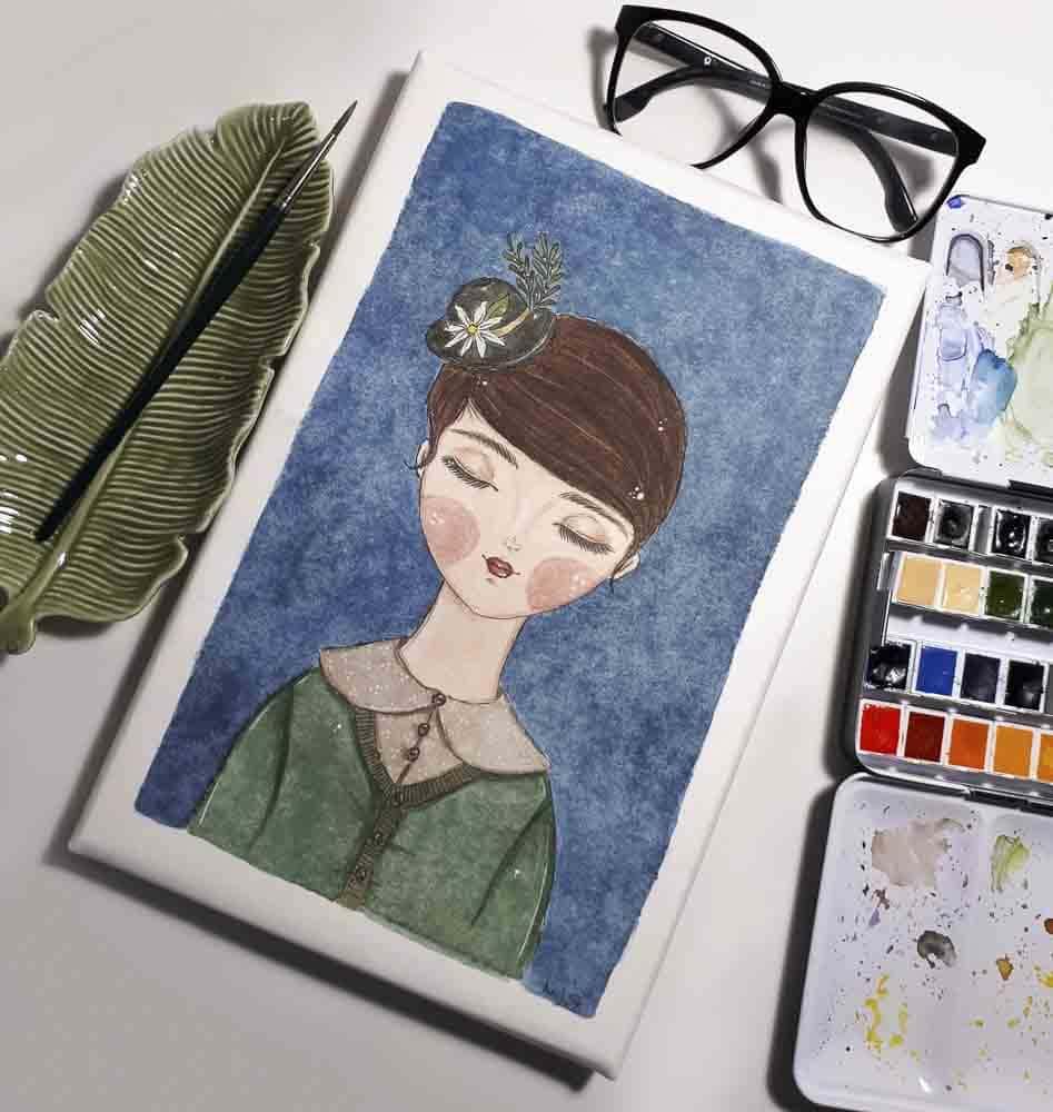 Arbeitsplatz mit Aquarell Malerei von Jicola Jane Schreiber