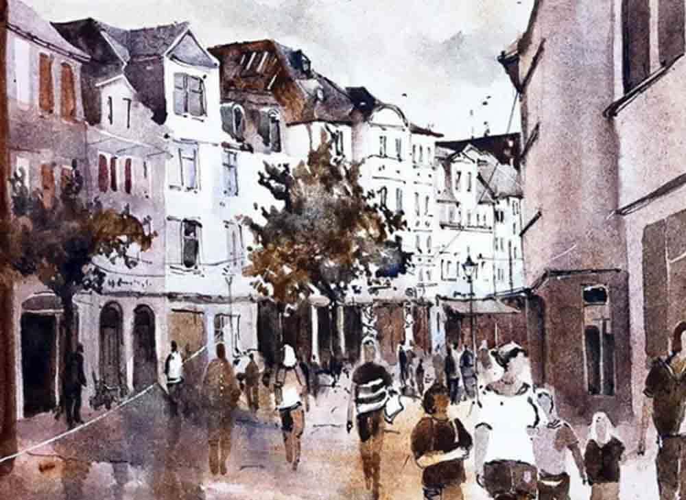 Beispiel für Aquarell Malerei. Stadt-Gemälde von Marina Abramova