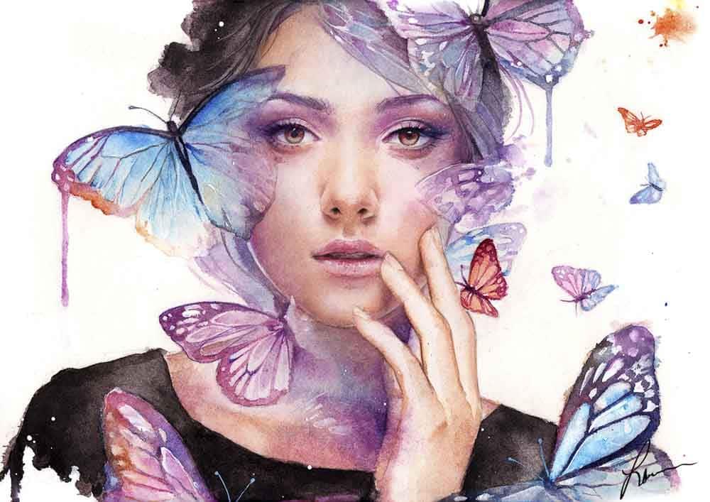 Aquarell Portrait mit Schmetterlingen vom Künstler Laovaan