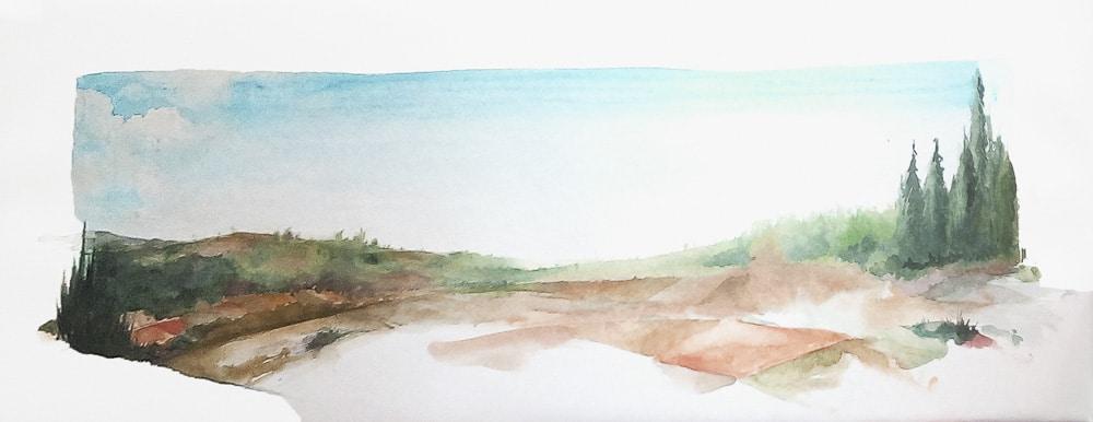 Aquarell Landschaft von Gris auf Leinwand im Großformat