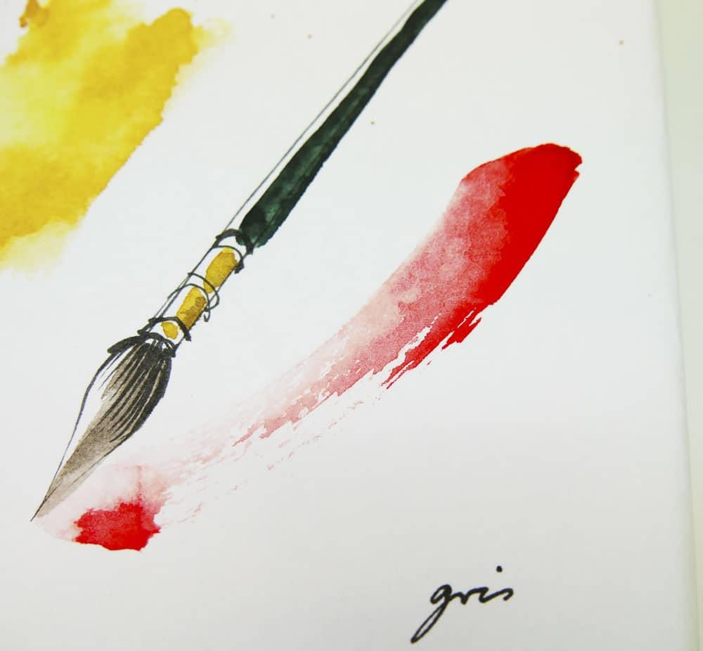 "Aquarell Malerei ""Pinsel"" von Gris."