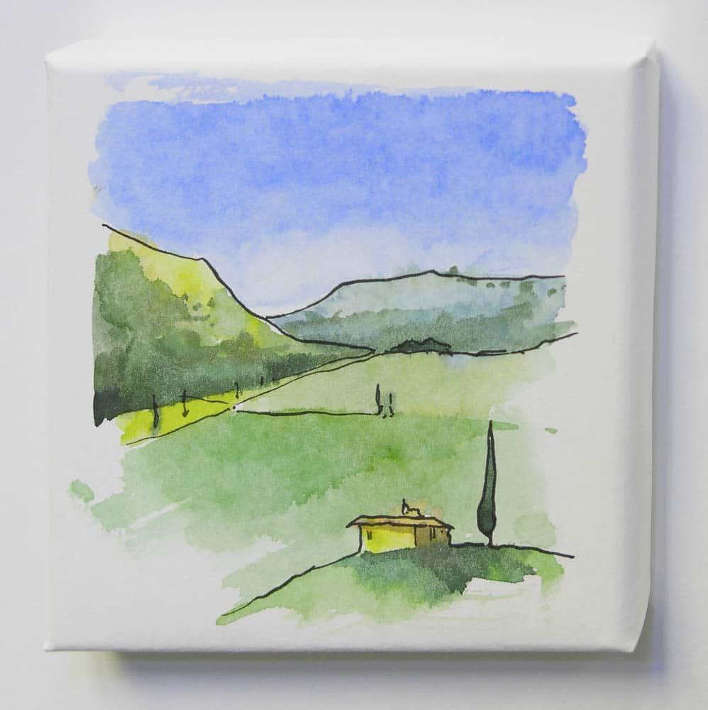 Landschaft von Gris mit Aquarell und Zeichentusche auf Leinwand.