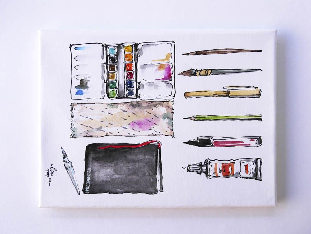 Aquarell, Tusche und Stifte auf Aqua Leinwand von Gris