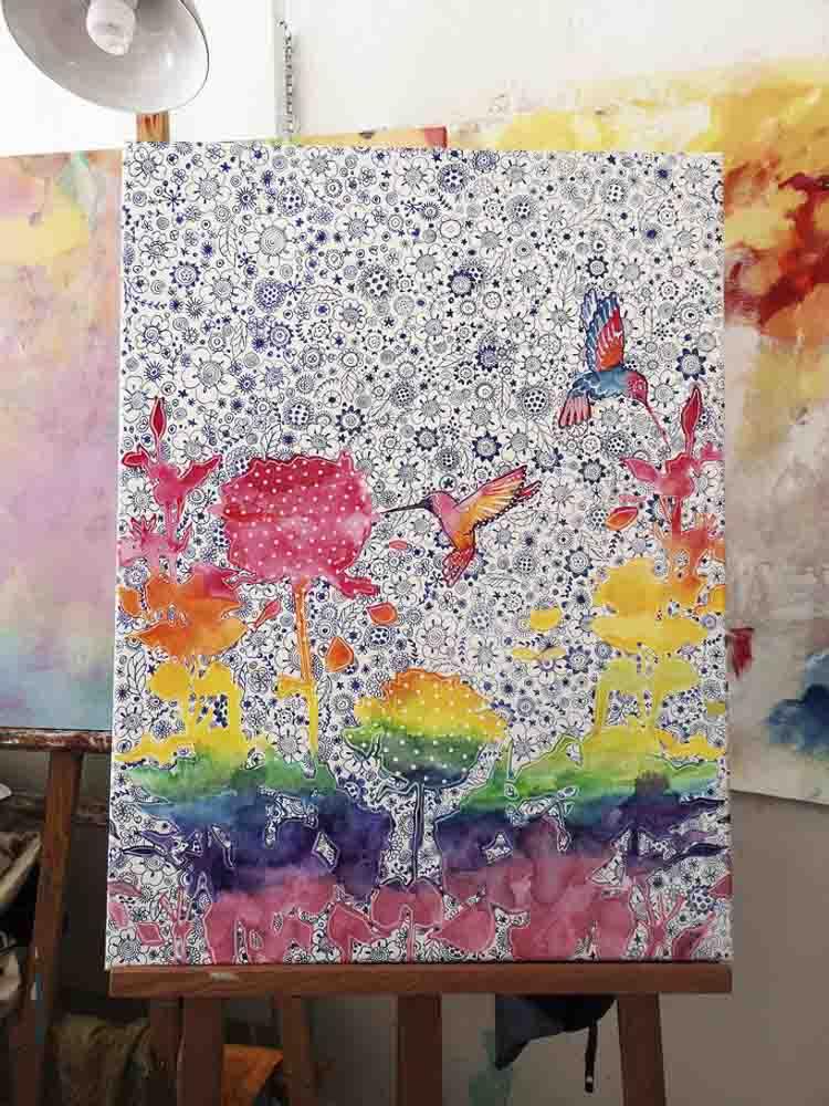 "Aqua Keilrahmen XXl, ""colorful birds"""