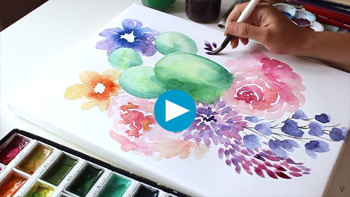 Aquarell Leinwand ausprobiert Video Vorschau